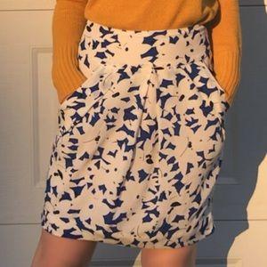 Anthropologie Odille Silk Blue floral pencil skirt